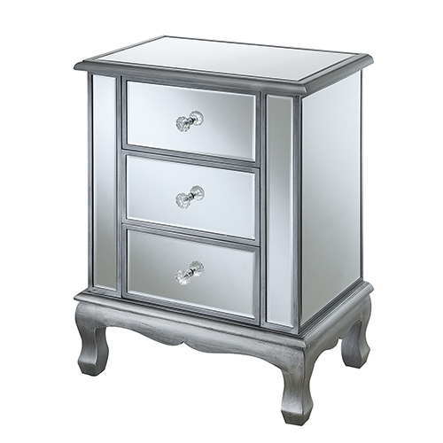Convenience Concepts Gold Coast Vineyard 3 Drawer Mirrored End Table