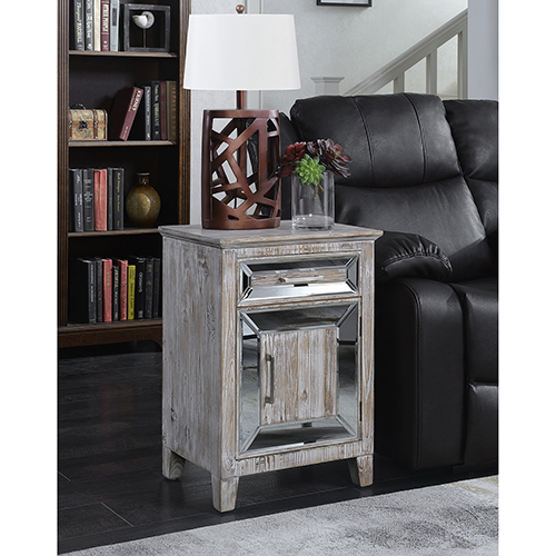 Convenience Concepts Gold Coast Vineyard Mirrored Cabinet with Drawer in Weathered White