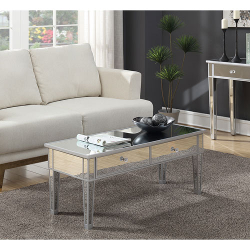 Gold Coast Mirror and Silver Coffee Table with Two Drawers