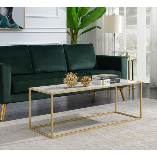 Gold And White Marble Coffee Table.Convenience Concepts Gold Coast White Faux Marble Rectangle Coffee Table