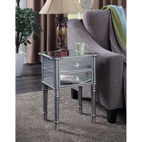 Convenience Concepts Gold Coast Mayfair Silver / Mirror End Table