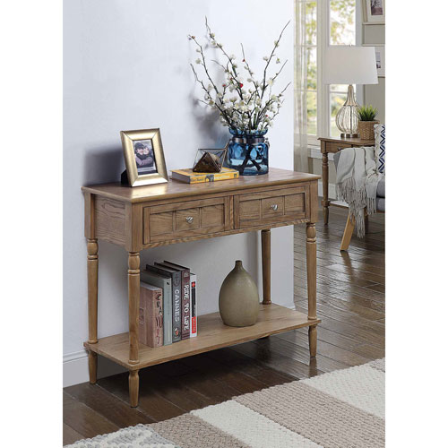 French Country Driftwood Two Drawer Hall Table