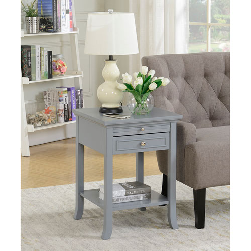 Convenience Concepts American Heritage Gray Logan End Table with Drawer and Slide