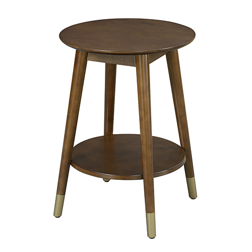 Convenience Concepts Wilson Mid Century Round End Table with Bottom Shelf