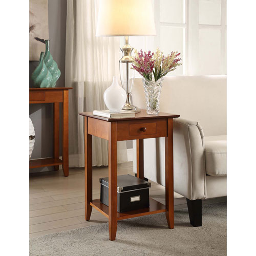 Convenience Concepts American Heritage End Table with Drawer and Shelf