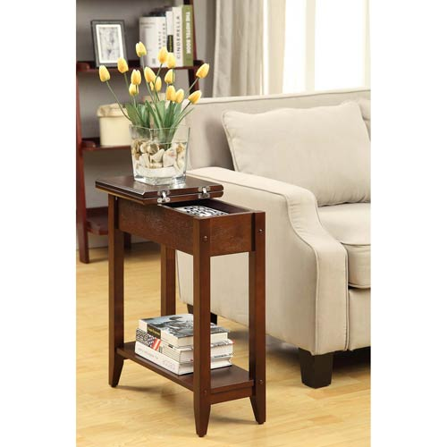 American Heritage Espresso Flip Top Side and End Table