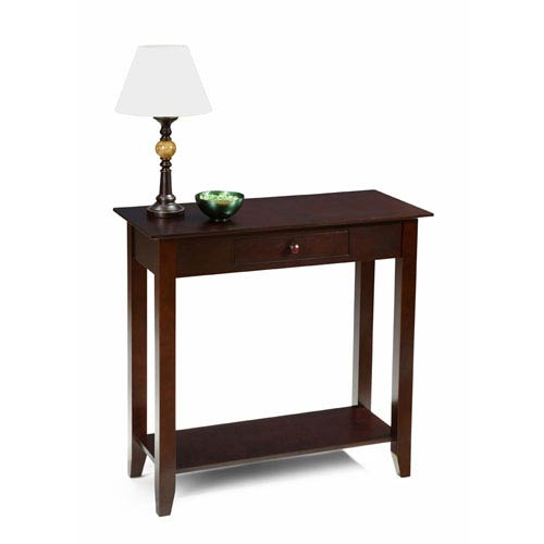 American Heritage Espresso Hall Table with Drawer and Shelf