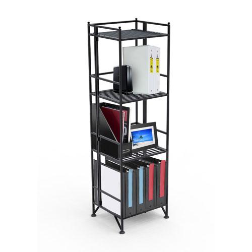 Convenience Concepts XTRA-Storage Four-Tier Black Folding Metal Shelf