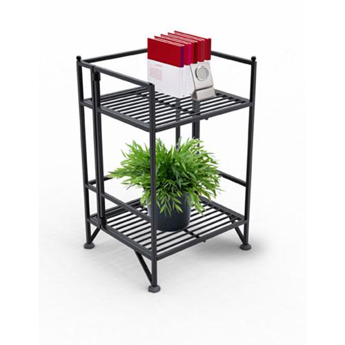 XTRA-Storage Two-Tier Black Folding Metal Shelf