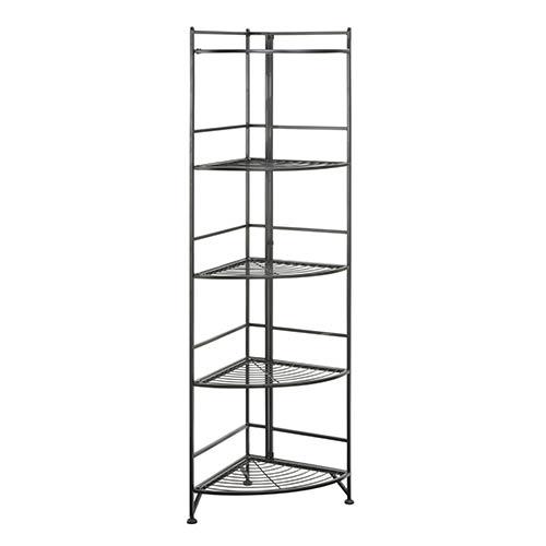 Convenience Concepts Designs2go Black Five-Tier Folding Metal Corner Shelf Media Tower