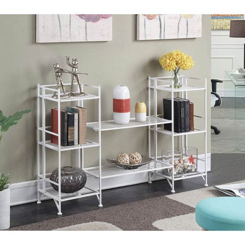 Extra Storage White 4 Piece Metal Folding Shelf