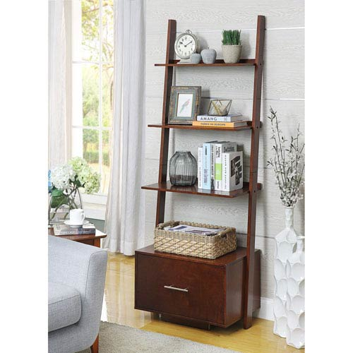 d7c1e655ec Convenience Concepts American Heritage Bookshelf Ladder With Drawer ...