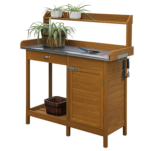 Deluxe Light Oak Garden Potting Bench with Cabinet