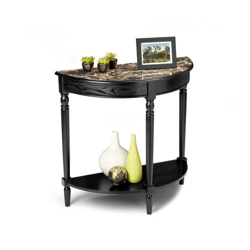 Convenience Concepts French Country Black Entryway Table with Faux Marble Top