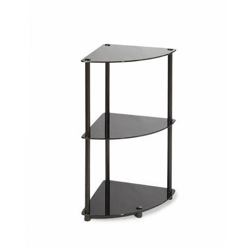 Convenience Concepts Midnight Classic Black Glass Three-Tier Corner Shelf