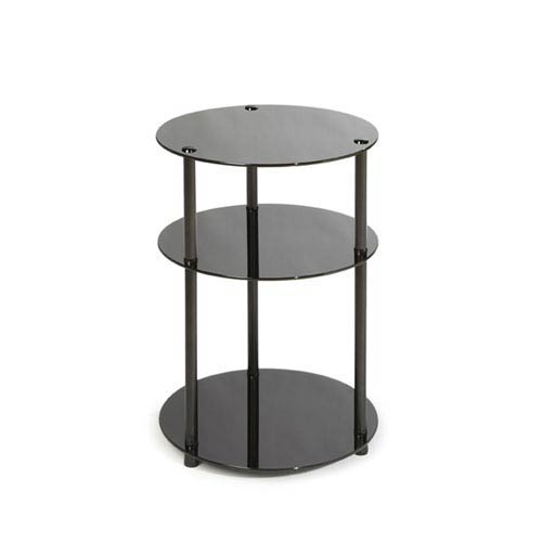 Midnight Classic Black Glass Three-Tier Round Table