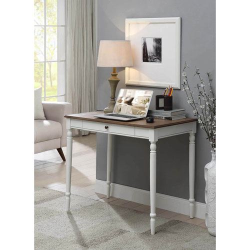 French Country Desk in Driftwood and White