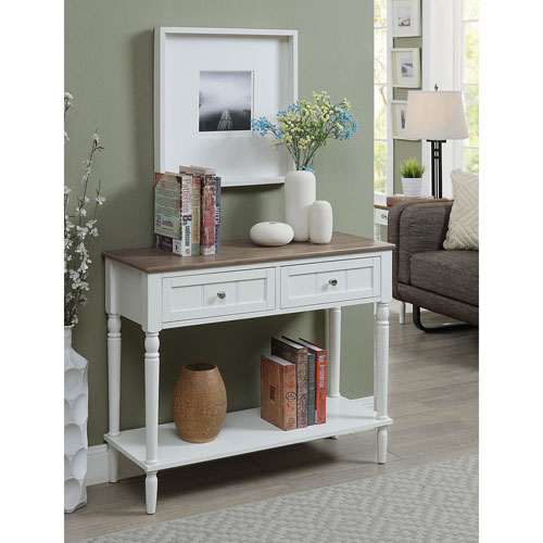 Convenience Concepts French Country Two Drawer Hall Table in Driftwood and White