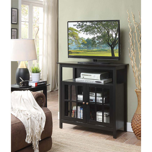 Convenience Concepts Big Sur Highboy Tv Stand In Black 8066070bl