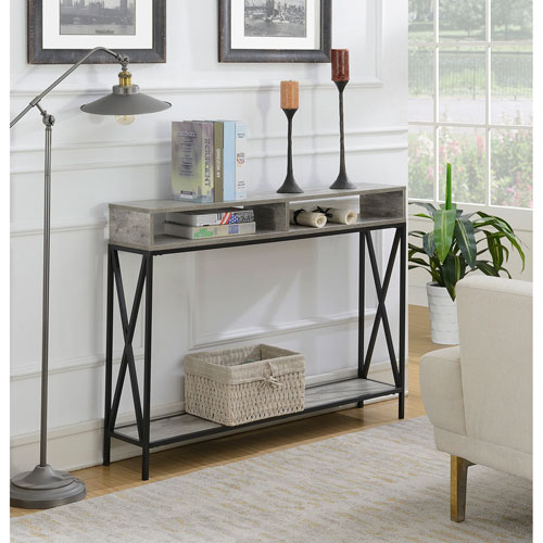 Convenience Concepts Tucson Deluxe 2 Tier Console Table in Faux Birch