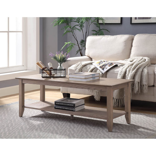 Convenience Concepts American Heritage Coffee Table with Shelf in Driftwood