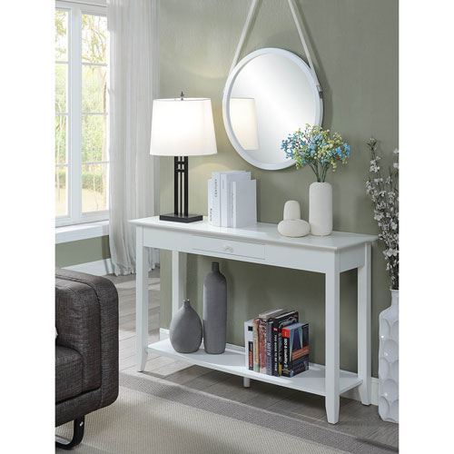 American Heritage Console Table with Drawer in White