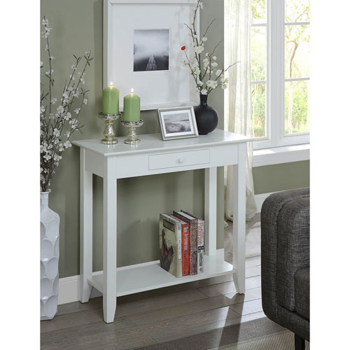 American Heritage Hall Table with Drawer and Shelf in White