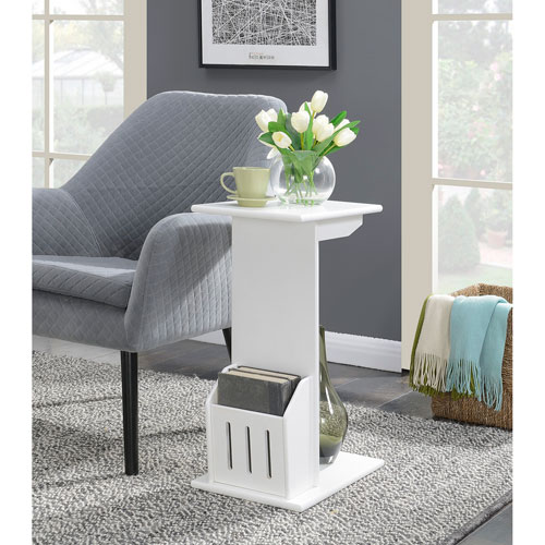 Convenience Concepts Designs2Go Abby Magazine C End Table in White