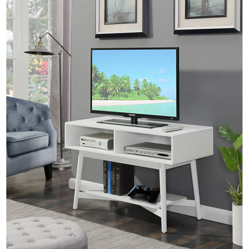 Convenience Concepts Savannah Mid Century Tv Stand In White 7303070w