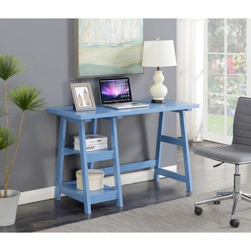 Convenience Concepts Designs2Go Trestle Desk in Blue