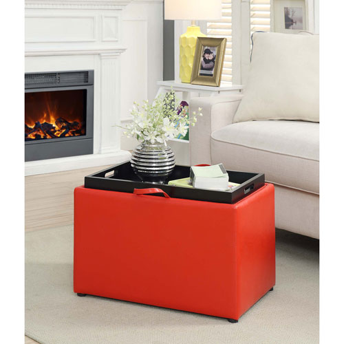 Designs4Comfort Bright Red Accent Storage Ottoman