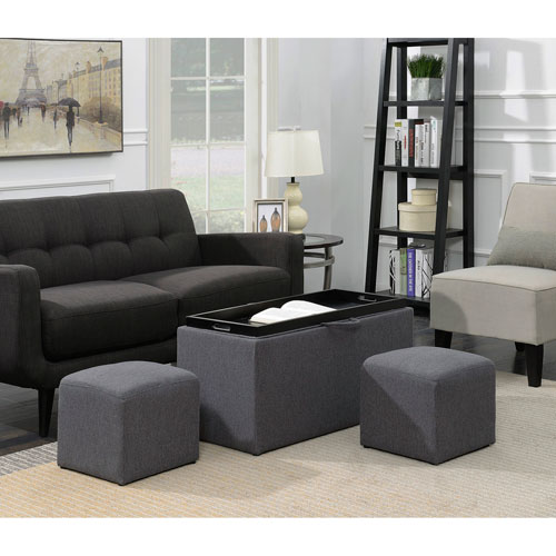 Designs4Comfort Sheridan Storage Bench with 2 Side Ottomans in Soft Gray