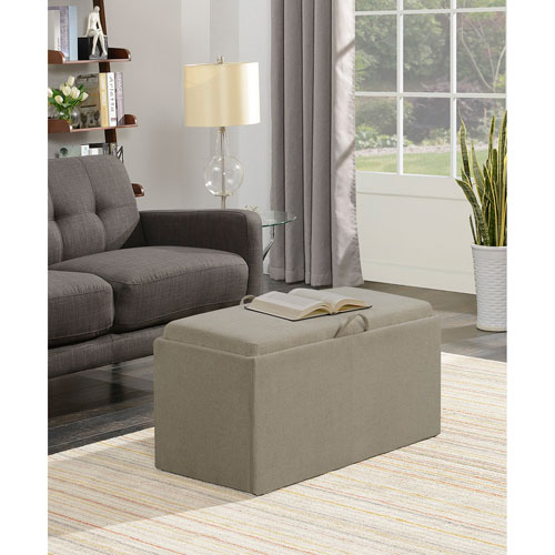 Convenience Concepts Designs4Comfort Sheridan Storage Bench with 2 Side Ottomans in Soft Beige