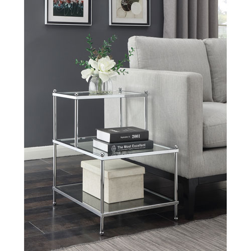 Royal Crest 3 Tier Step End Table in Clear Glass and Chrome Frame
