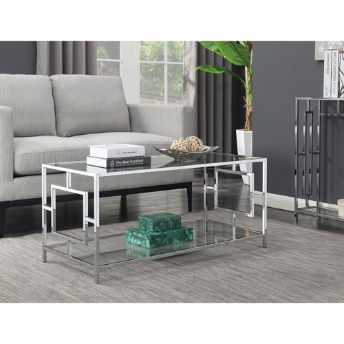 Town Square Coffee Table in Clear Glass and Chrome Frame