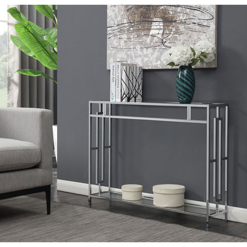 Town Square Console Table in Clear Glass and Chrome Frame