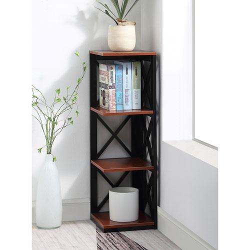 Convenience Concepts Oxford 3 Tier Corner Bookcase In Cherry And Black
