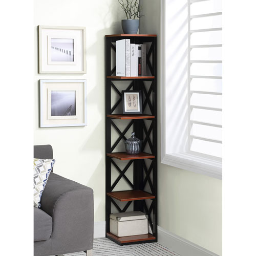 Convenience Concepts Oxford 5 Tier Corner Bookcase In Cherry And Black