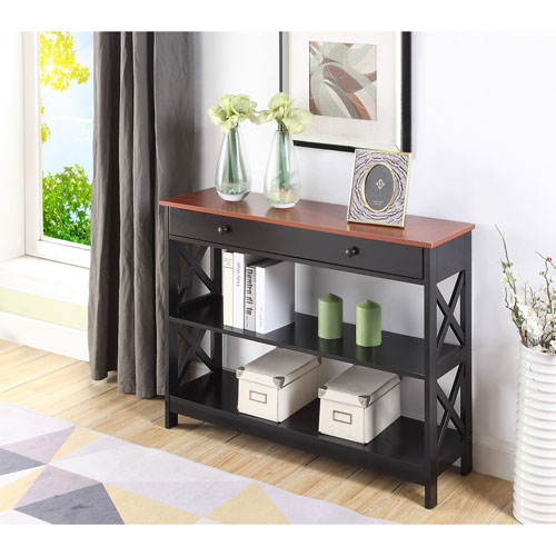 Convenience Concepts Oxford 1 Drawer Console Table in Cherry and Black