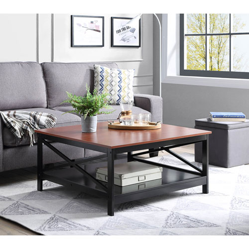 Convenience Concepts Oxford 36 Inch Square Coffee Table In Cherry And Black