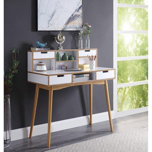 Oslo Deluxe Desk with Hutch in White and Light Oak
