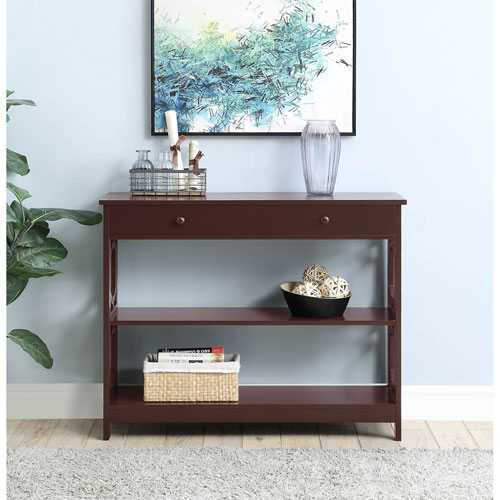 Convenience Concepts Omega 1 Drawer Console Table in Espresso