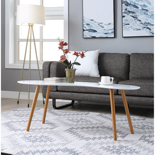 Oslo Bean Shaped Coffee Table in White with Bamboo