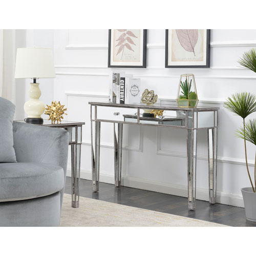 Gold Coast Weathered Gray Mirrored Desk
