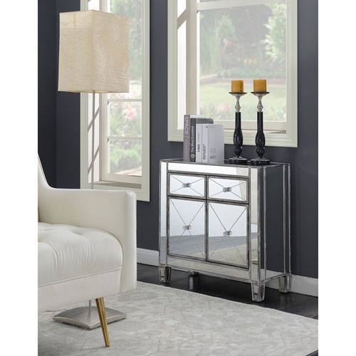 Convenience Concepts Gold Coast Vineyard 2 Drawer Mirrored Cabinet In Weathered Gray 413306wgy Bellacor