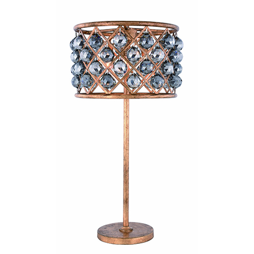 Madison Golden Iron 32-Inch Three-Light Table Lamp with Silver Shade Royal Cut Crystal
