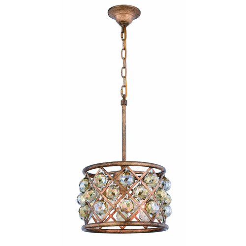 Madison Gold Iron Three-Light Pendant with Gold Teak Royal Cut Crystal