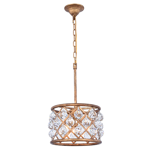 Elegant Lighting Madison Gold Iron Three-Light Pendant with Royal Cut Crystal