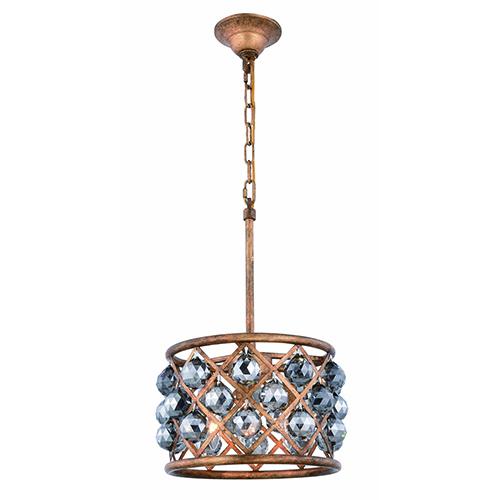 Elegant Lighting Madison Gold Iron Three-Light Pendant with Silver Shade Royal Cut Crystal