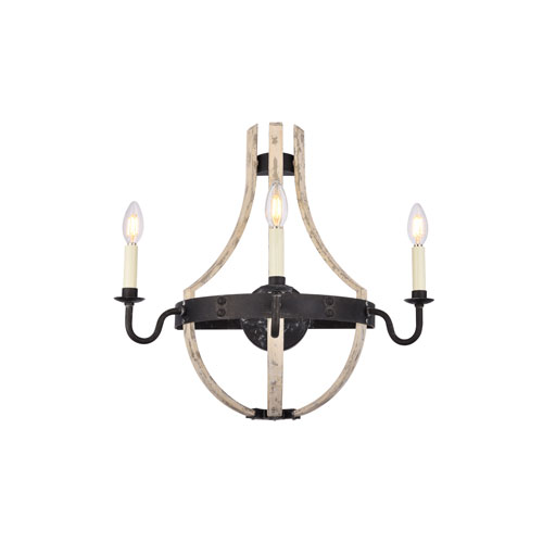 Woodland Ivory Wash and Steel Grey 20-Inch Three-Light Wall Sconce
